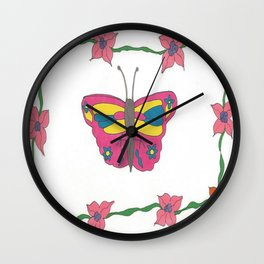 Butterfly and Blooms Wall Clock