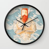 beard Wall Clocks featuring Sailor by Seaside Spirit