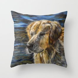 One Wet Golden Retriever by Teresa Thompson Throw Pillow