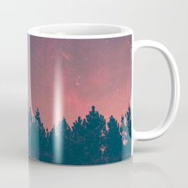 Pink And Black Milky Way Galaxy Forest Coffee Mug