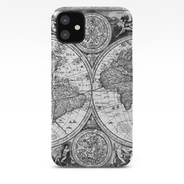 Black and White World Map (1651) iPhone Case