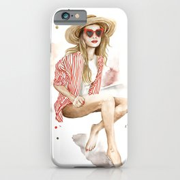 Summer fashion woman in straw hat watercolor painting iPhone Case
