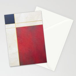 Blue, Red And White With Golden Lines Abstract Painting Stationery Cards