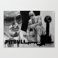 pitbull Canvas Prints featuring Pitbull by Anush's Art