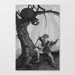 Little Miss Moffit, Slayer of Spiders Canvas Print