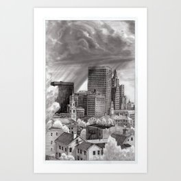 Rainstorm Over Downtown Providence Art Print