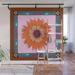 Western Style Chocolate Brown Pink-Orange Sunflower Art Wall Mural
