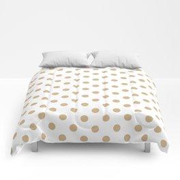 Small Polka Dots - Tan Brown on White Comforters
