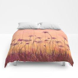 Dreamy Violet Dandelion Flower Garden Comforters