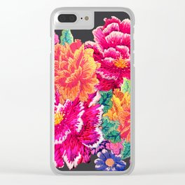 Oriental Peony Embroidery Clear iPhone Case