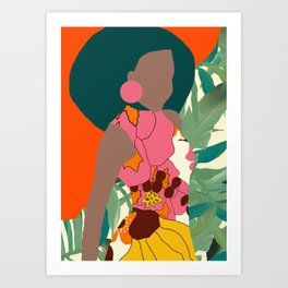 Jungle Pop! Retro princess Textile Collage Art Print