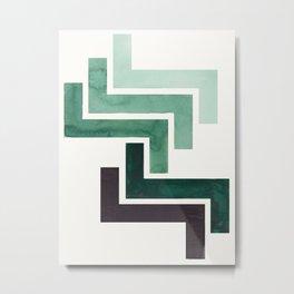 Deep Green Pattern Mid-century Modern Simple Geometric Pattern Watercolor Minimalist Art Squares Metal Print