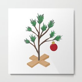 Alone at Christmas - Christmas Tree Metal Print