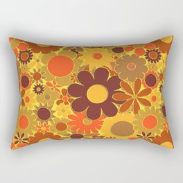 Funky Daisy Floral in Electric Orange Rectangular Pillow