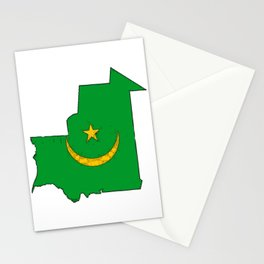 Mauritania Map with Mauritanian Flag Stationery Cards