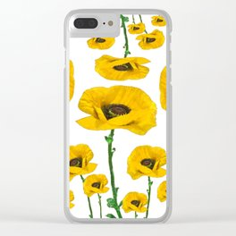 YELLOW POPPIES FLOWER ON WHITE Clear iPhone Case