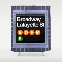 subway broadway sign Shower Curtain