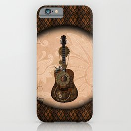 Wonderful steampunk guitar with clocks and steampunk horse iPhone Case