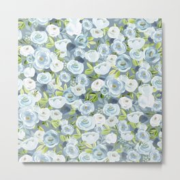 Soft Blue Watercolor Floral, Hand-painted Floral Pattern, Navy and Slate Blue, Light Blue, Roses Metal Print