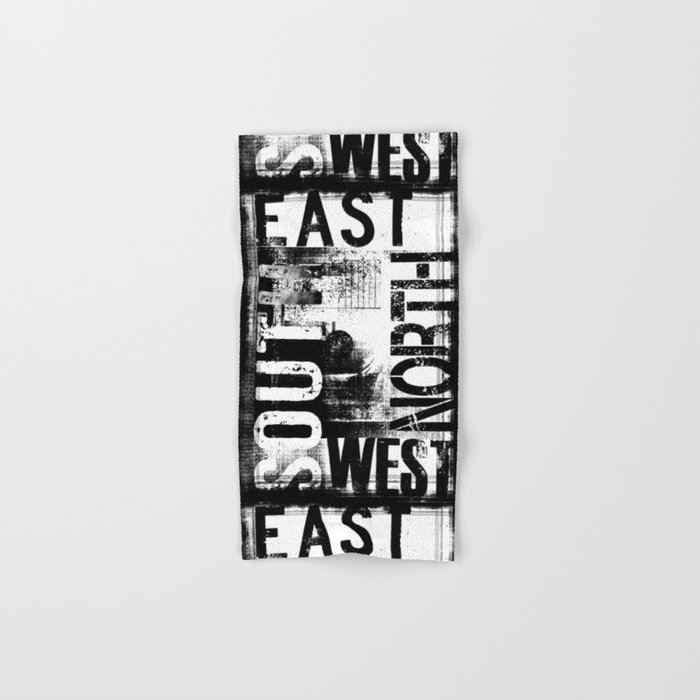 east south north west black white grunge typography hand bath