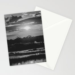 Sunset North Sea Waves Denmark Bjerregard Beach 4 bw Stationery Cards
