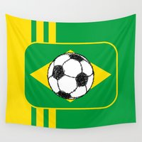 brazil Wall Tapestries featuring Brazil Flag Football Sketch by mailboxdisco
