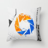 aperture Throw Pillows featuring Aperture Vandal by Toronto Sol