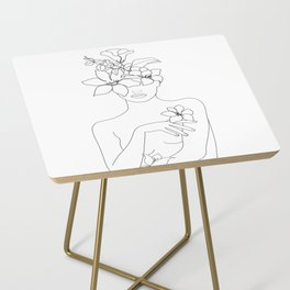 Minimal Line Art Woman with Flowers IV Side Table