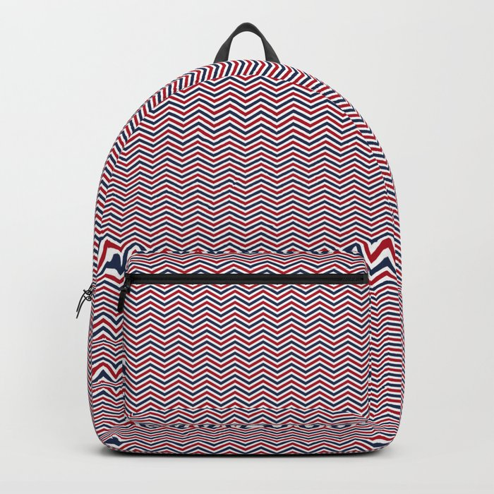 Red White and Blue Chevrons Backpack