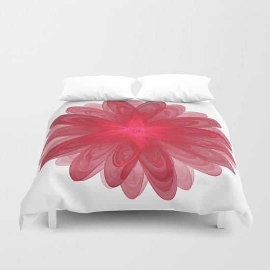 Red Flower Bloom Fractal Duvet Cover