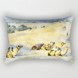 Camel Desert, India Rectangular Pillow