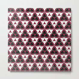 Triad Pattern Black-White-Red Metal Print