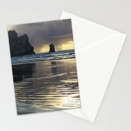 Morro Rock Beach Sunset Gold Stationery Cards