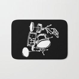 Drum Kit Rock Black White Bath Mat