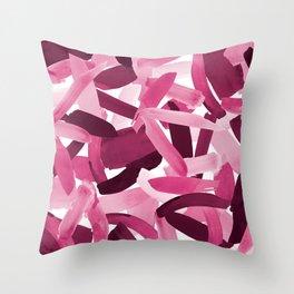 Artsy Girly Pink Burgundy Brushstroke Collage Throw Pillow