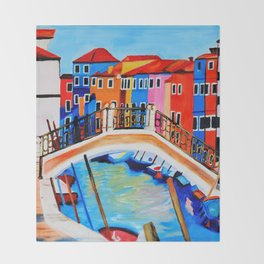 Colors of Venice Italy Throw Blanket