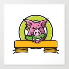 Wild Boar Biting Gherkin Circle Mascot Canvas Print