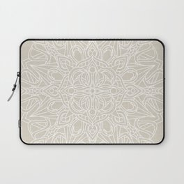 White Lace Mandala on Antique Ivory Linen Background Laptop Sleeve