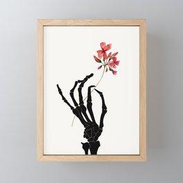 Skeleton Hand with Flower Framed Mini Art Print