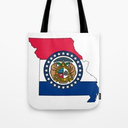 Missouri Map with Missouri Flag Tote Bag