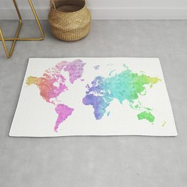"Rainbow world map in watercolor style ""Jude"" Rug"
