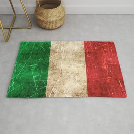 Vintage Aged and Scratched Italian Flag Rug
