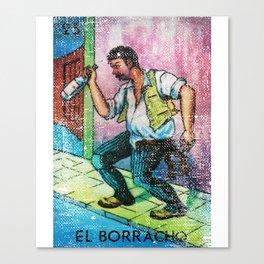 El Borracho Mexican Loteria Bingo Card Canvas Print