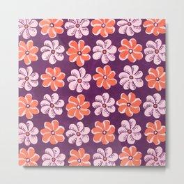 Floral design Orange & Purple Flowers print Metal Print
