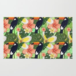 Toucan and Hawaii Hibiscus Pattern Rug