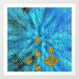 Blue Aqua Turquoise And Gold Glitter Mermaid Scales -Beautiful Mermaidscales Pattern Art Print