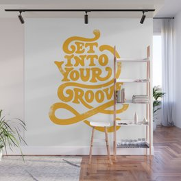 Get Into Your Groove Vintage Orange Wall Mural
