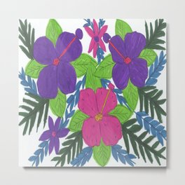 Tropical Hibiscus Bouquet Metal Print