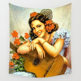 Mexican Calendar Girl with Guitar by Jesus Helguera Wall Tapestry