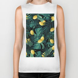 Tropical Lemon Twist Jungle Night #1 #tropical #decor #art #society6 Biker Tank